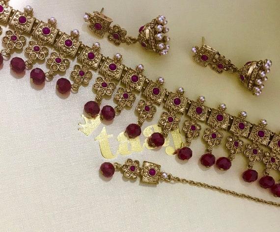 Amelia Gold & maroon choker necklace jhumja earrings tikka set Indian bridal Pakistani jewellery