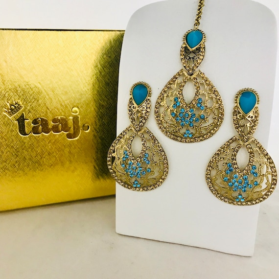 Aksha Gold firoza diamanté earrings and tikka set indian bridal Pakistani jewellery
