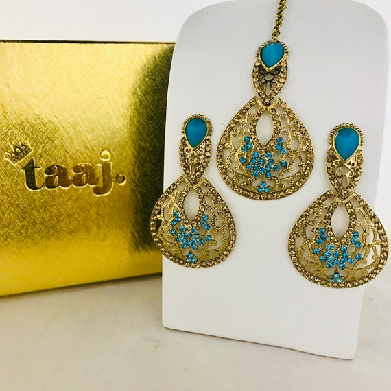 Aksha Gold firoza diamanté earrings and tikka set indian bridal Pakistani jewellery