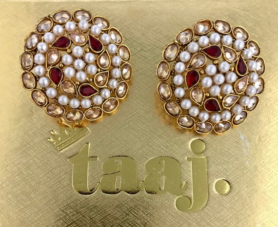 Jhanak Gold zirconia red pearl stud tops earrings indian bridal Pakistani party jewellery