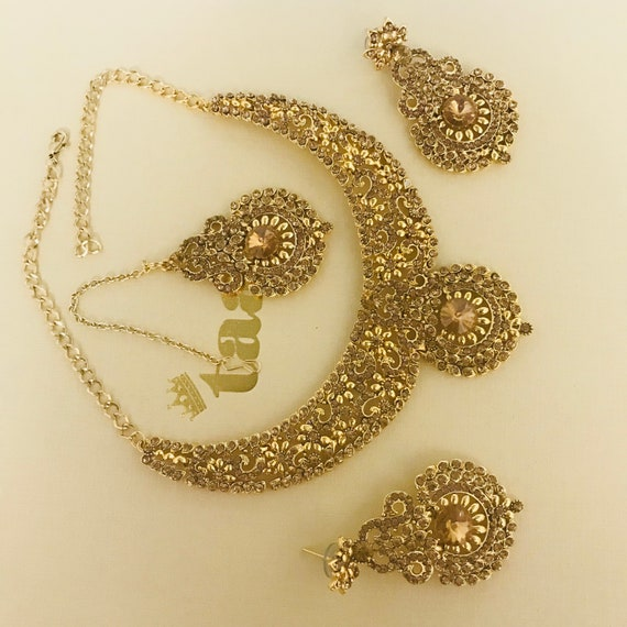 Shelley Gold diamanté necklace earrings tikka set, indian Pakistani wedding party jewellery