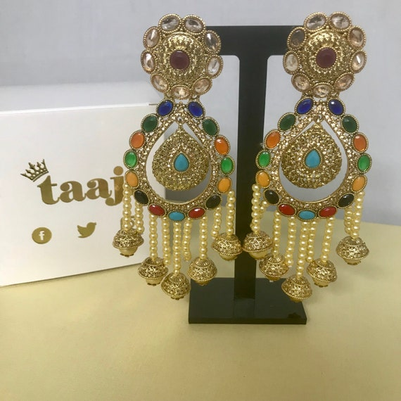 Riyah Large gold Multi colour pearl strand earrings, Indian bridal Pakistani party jewellery