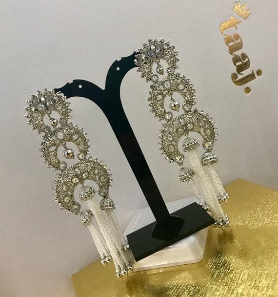 Hasina Silver pearl strand jhumka earrings Pakistani Indian Bridal jewellery