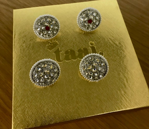 Arla 2 pack silver zirconia stud earrings tops indian kundan pakistani jewellery
