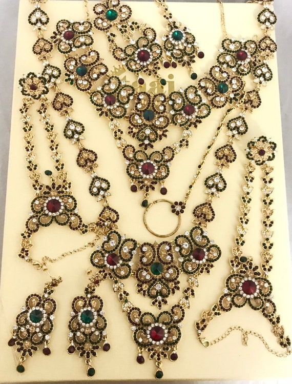 Alka Gold green red diamanté 9 piece indian bridal Pakistani wedding jewellery