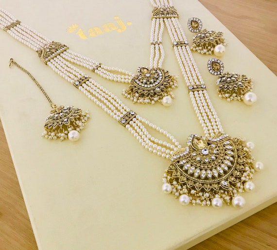 Fari Gold pearl long rani haar Necklace earrings and tikka, indian bridal Pakistani style jewellery