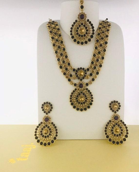 Olivia Gold purple diamanté long necklace earrings tikka set