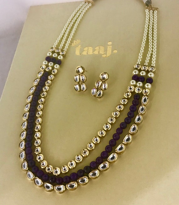 Lorina Purple kundan long pearl Mala Necklace and earrings, Indian jewellery Pakistani bridal