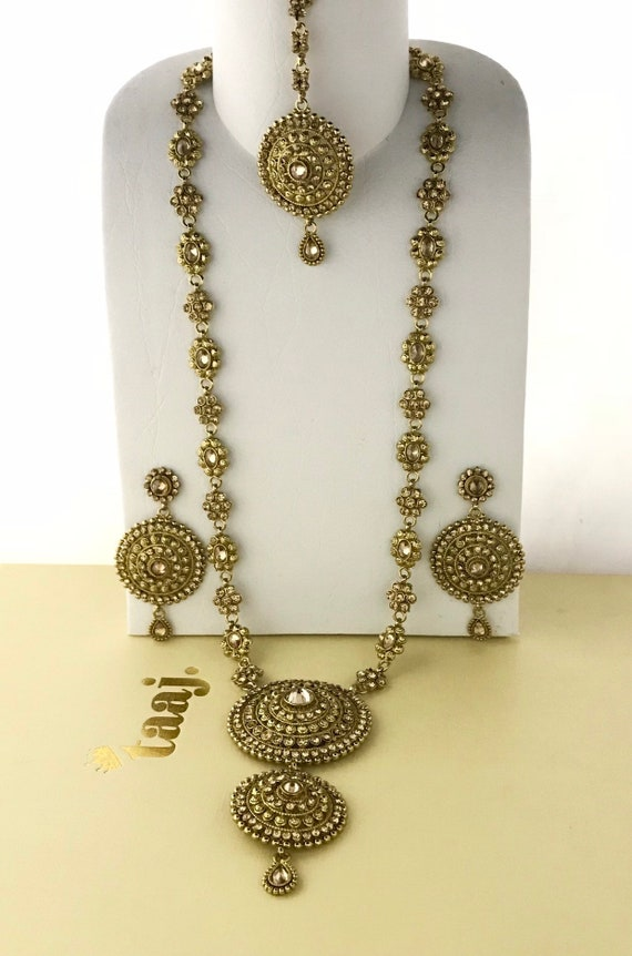 Sapna Antique gold long rani haar Necklace earrings and tikka set, indian bridal Pakistani jewellery