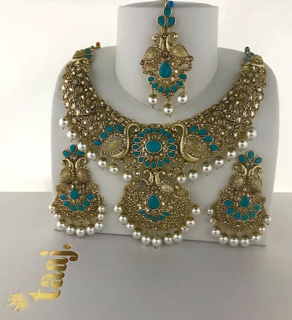 Nisha Gold & firoza pearl necklace earrings and tikka set, indian bridal Pakistani jewellery