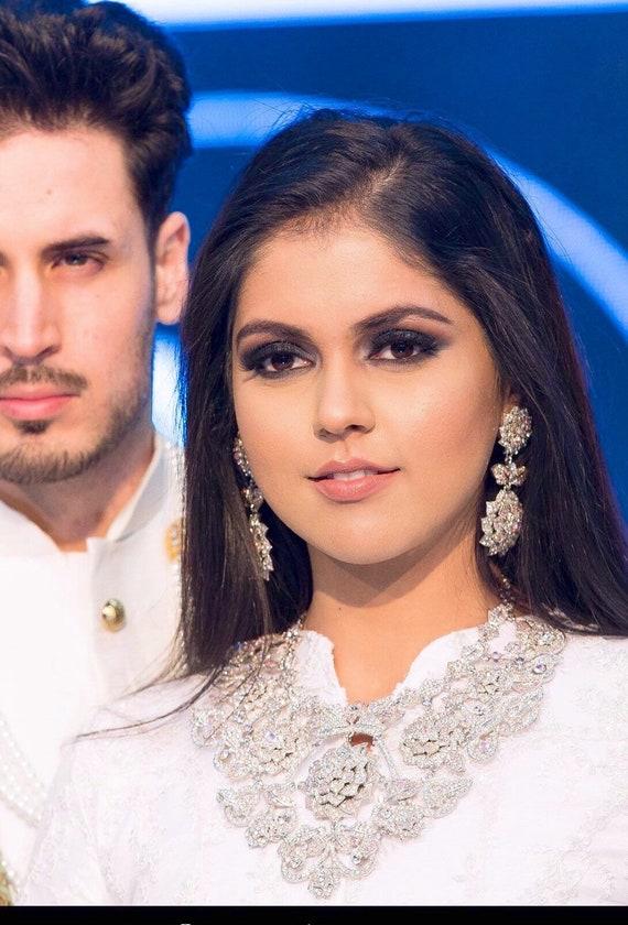 Gemma Silver diamanté rainbow necklace earrings and tikka set Indian bridal pakistani engagement jewellery