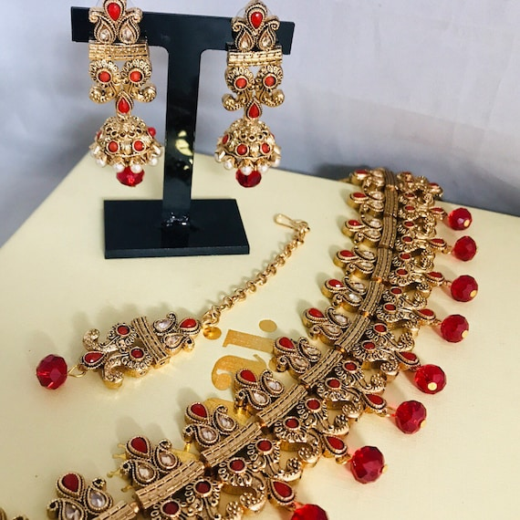Zelda Gold red pearl choker necklace jhumka earrings tikka set indian Bridal Pakistani jewelry
