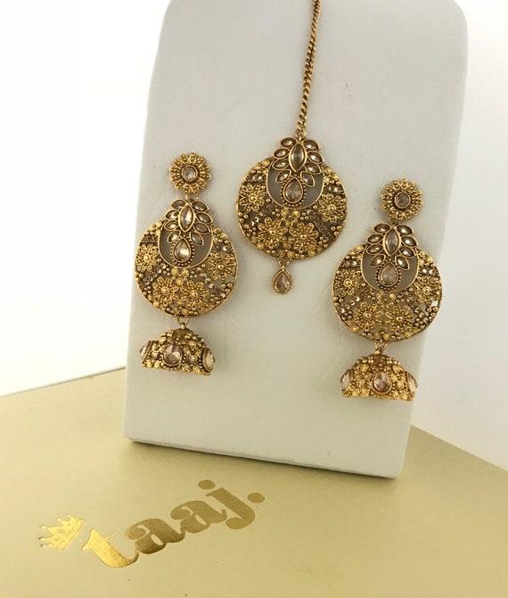 Bamra High gold zirconia jhumka earrings and tikka set, indian bridal Pakistani hijab jewellery