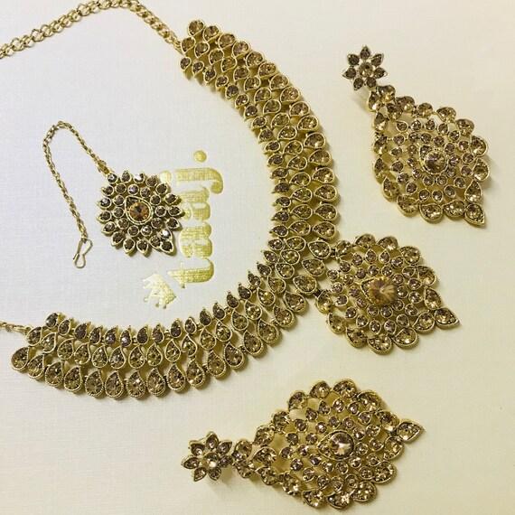 Alice Gold diamanté Necklace Earrings & tikka set