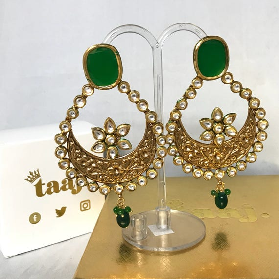Dipyum Kundan large chaand bali earrings