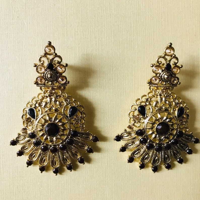 Antique gold and black necklace earrings tikka set Indian bridal pakistani jewellery