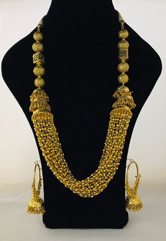 Rajan Gold mala long haar ball necklace jhumka hoop earrings traditional indian pakistani faux gold jewellery