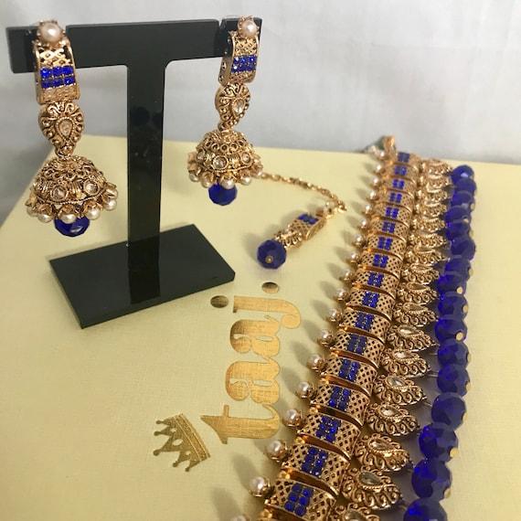 Zaha Gold pearl blue zirconia choker necklace jhumka earrings and tikka set pakistani indian bridal jewellery
