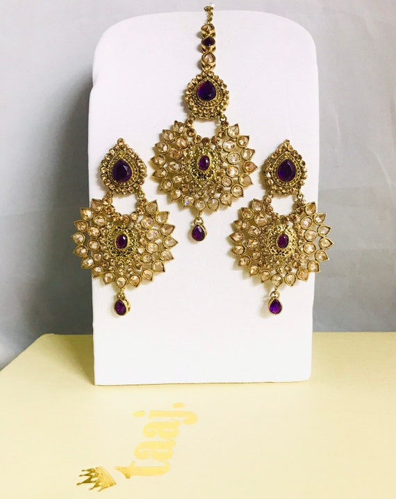 Shante Gold and purple zirconia earrings and tikka set Indian bridal kundan Pakistani jewelry