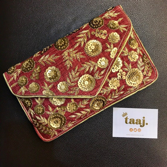 Sally Antique gold dark red evening clutch bag handbag shoulder strap prom party indian bridal