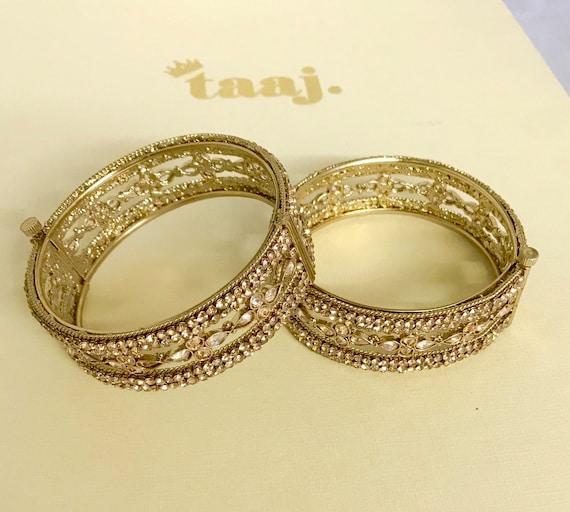Saima Gold polki kundan pair free size screw bangles kara churi bracelet kangan cuff indian jewellery