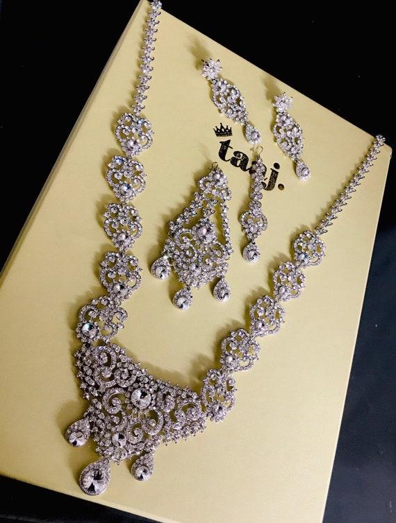 Lotus Silver diamanté long rani hast necklace earrings tikka jhumar set