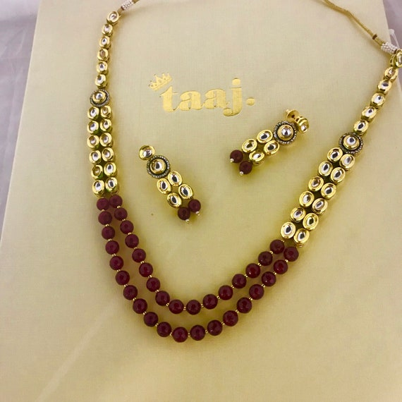 Rijaal Ruby kundan mala long Necklace and earrings set Indian bridal Pakistani jewellery