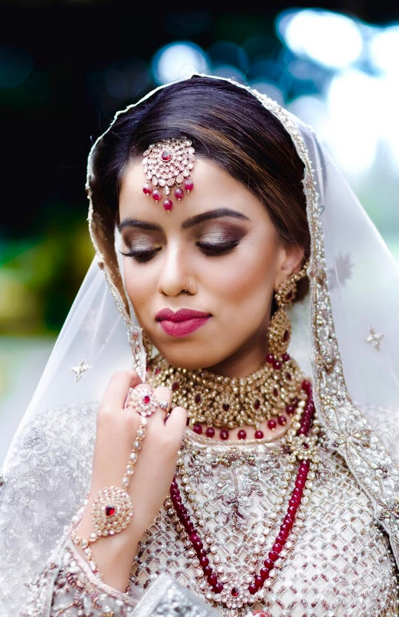 Serina Antique gold maroon indian bridal set choker necklace rani haar tikka earrings handpiece Pakistani jewellery