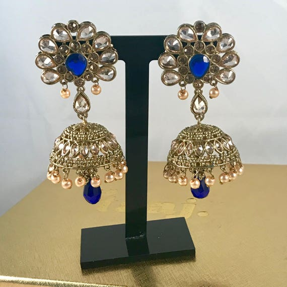 Mulan Antique gold & blue jhumka earrings