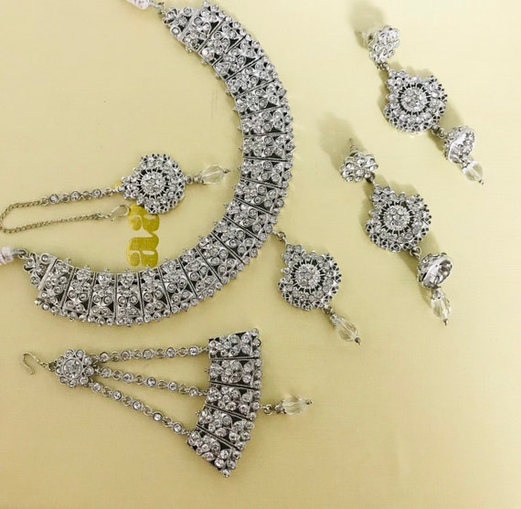 Molly Silver diamanté necklace earrings tikka jhumar Indian bridal jewellery