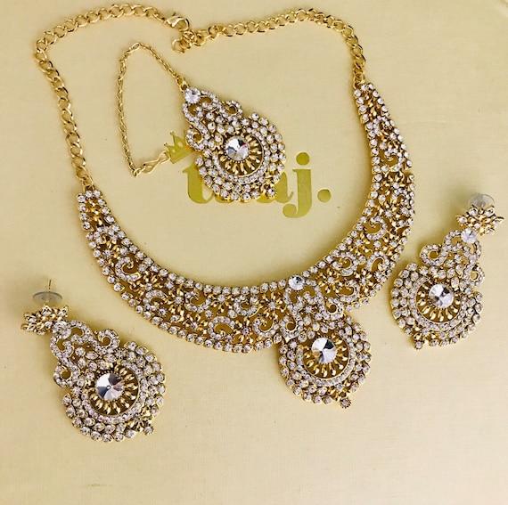 Shelley Gold diamanté necklace earrings tikka set indian bridal Pakistani hijab party jewellry