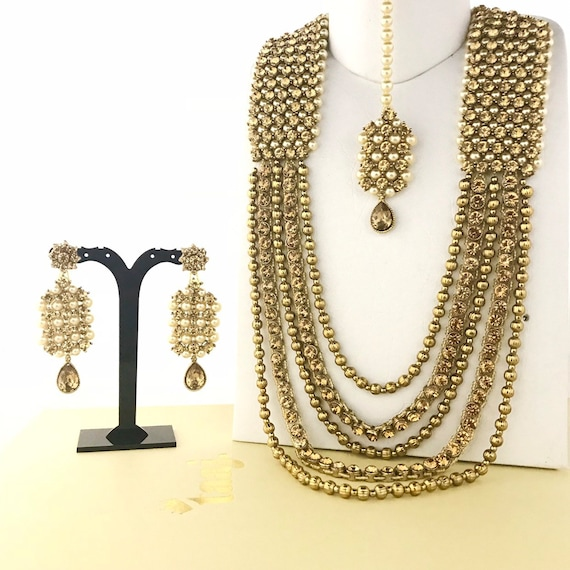 Roop Gold & pearl diamanté long mala rani haar necklace earrings tikka set Indian bridal Pakistani jewellery