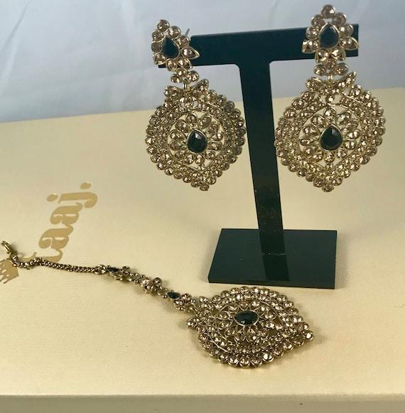 Nakra Antique gold & Black Earrings and tikka set
