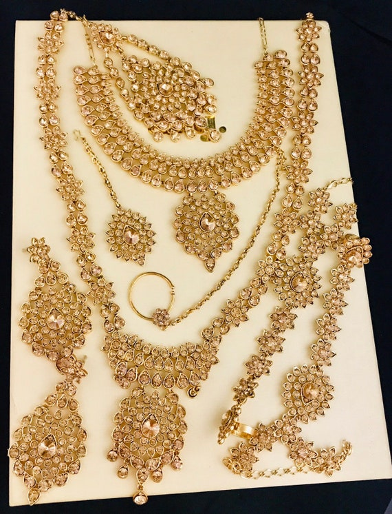 Alice Gold diamanté Indian Bridal jewelry set