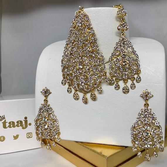 Emma Gold diamanté jhumar earrings and tikka set