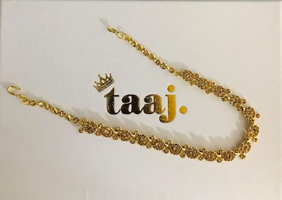 Gelda Gold diamanté hair chain matha patti headpiece hijab boho grecian hair jewellery
