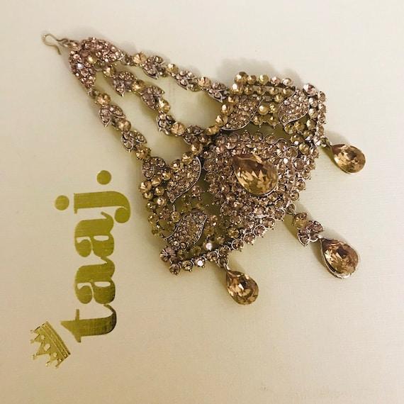Shazia Gold diamanté jhumar passa side piece tikka head hijab jewelry Indian bridal