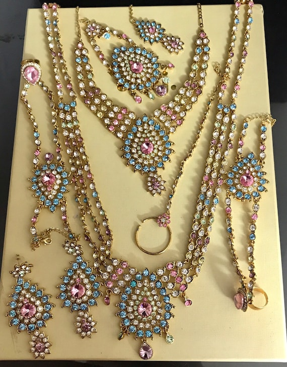 Alia Gold pastel multi colour diamanté Indian bridal jewelry