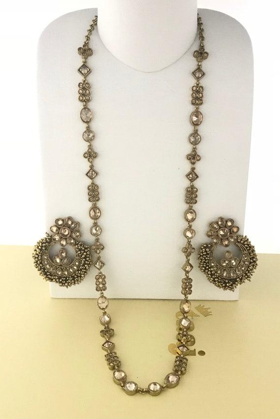 Oriya Antique gold zirconia long necklace and chaand bali earrings