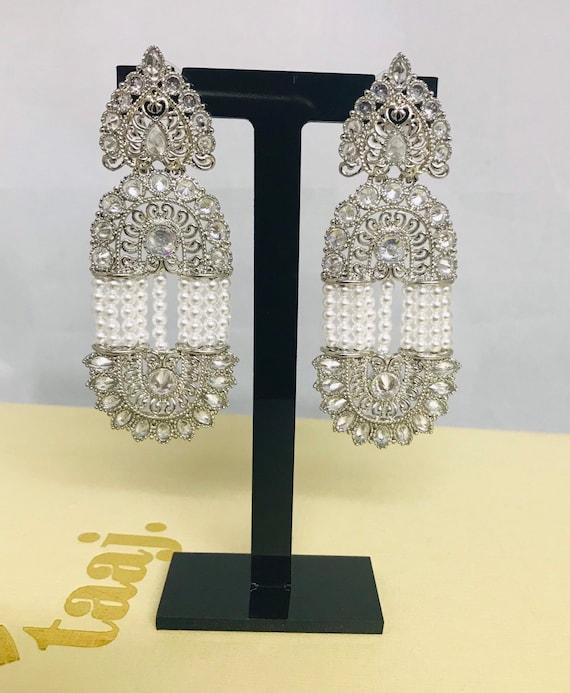Shila Silver zirconia pearl earrings art nouveau Indian bridal jewellery