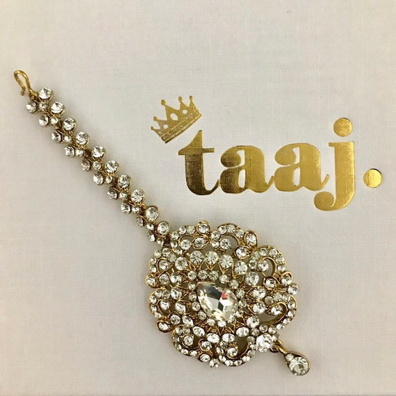 Ouna Gold diamanté tikka head piece hair hijab wear indian jewellery