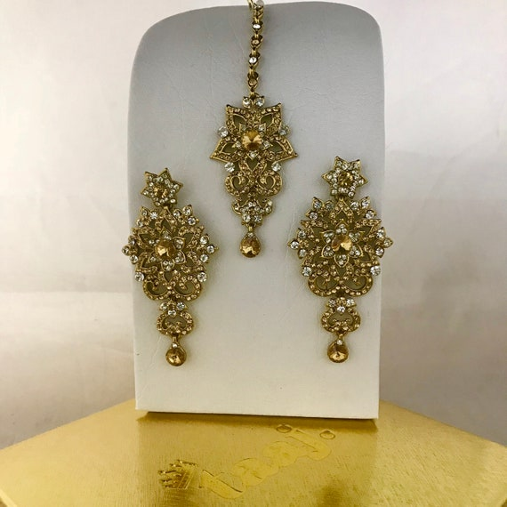Huma Gold diamanté earrings and tikka set indian Pakistani bridal prom party hijab jewellery