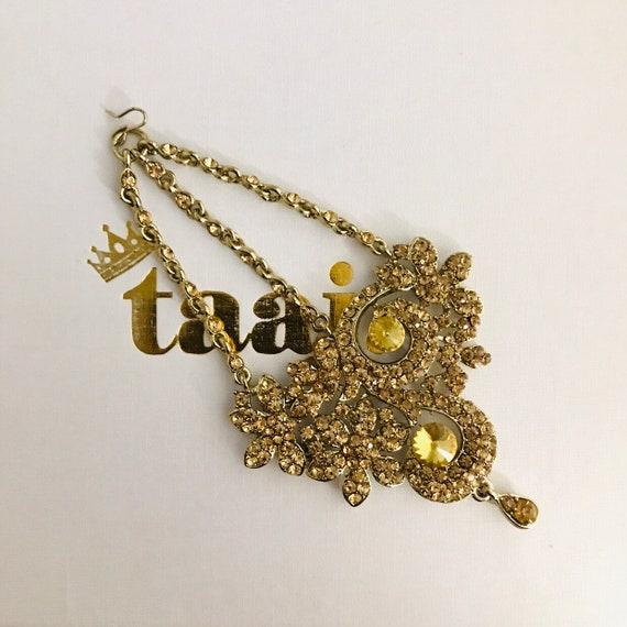 Farah Gold diamanté jhumar passa tikka side headpiece hijab hair indian bridal Pakistani jewelry