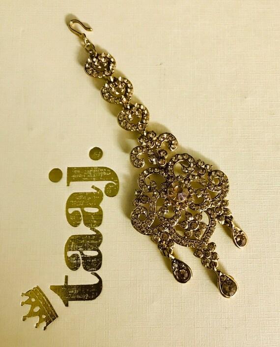 Anthea Gold diamanté tikka headpiece hijab hair indian bridal Pakistani jewelry