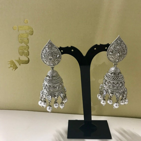 Dahlia Silver and pearl zirconia jhumka earrings indian bridal pakistani style jewellery