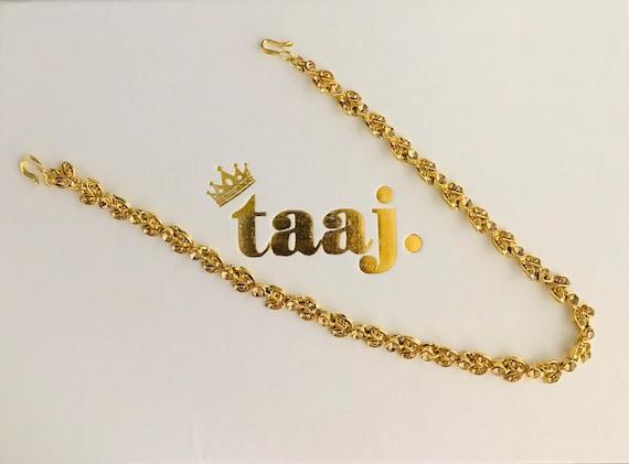 Gonal Gold diamanté hair chain headpiece matha patti hijab jewellery hippie wedding