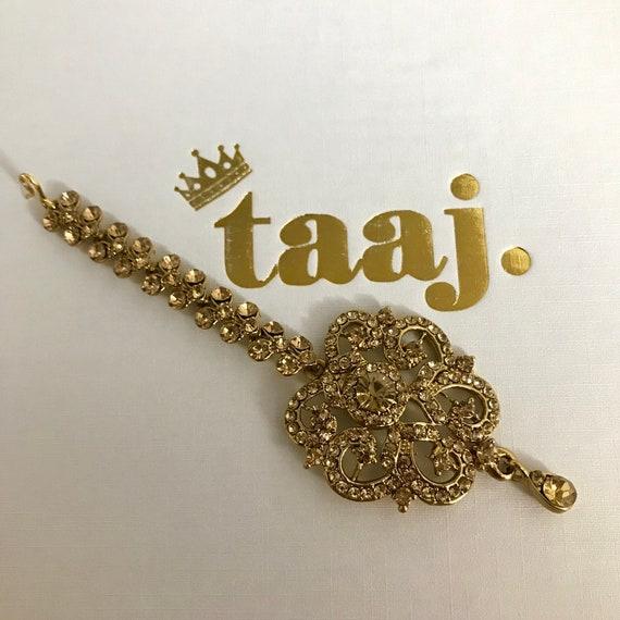 Runa Gold diamanté tikka headpiece hair hijab jewellery bindi Indian Bridal