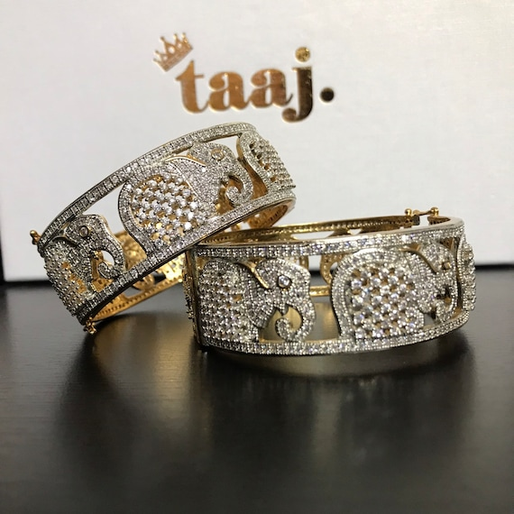Karyeh Gold American diamond cz pair bangle bracelet kangan kara churi free size clasp cuff Indian jewellery