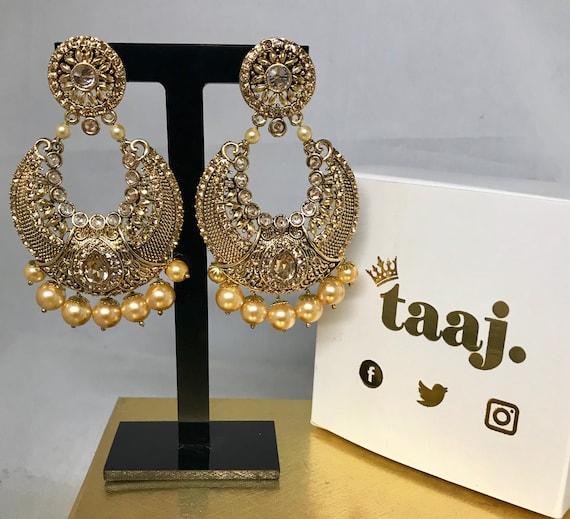 Gauri Gold zirconia pearl chaand bali style earrings