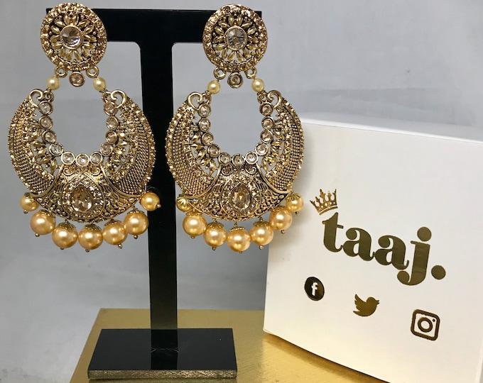 Featured listing image: Gauri Gold zirconia pearl chaand bali style earrings